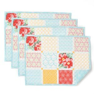 Pioneer Woman Diamond Patchwork Placemats 4 PC SET